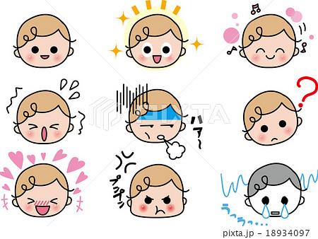 赤ちゃん 表情 笑顔のイラスト素材 18934097 Pixta