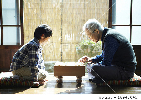 孫と将棋をするおじいちゃん 18943045