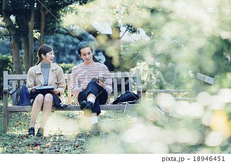 ベンチに座るカップル 18946451