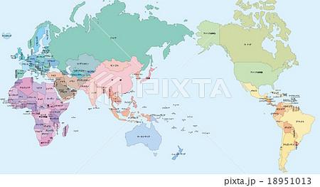 国名入り世界地図のイラスト素材 18951013 Pixta