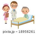 回診で患者から話を聞く医師と看護師 18956261