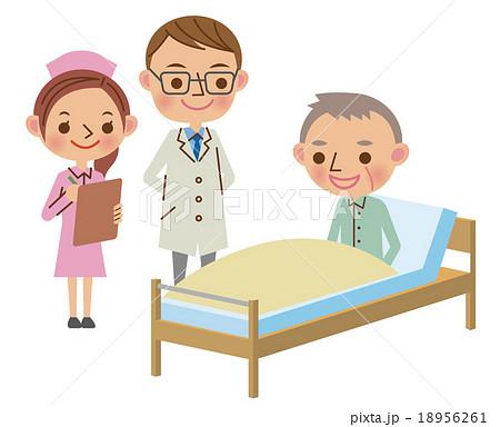 回診で患者から話を聞く医師と看護師のイラスト素材 18956261 Pixta