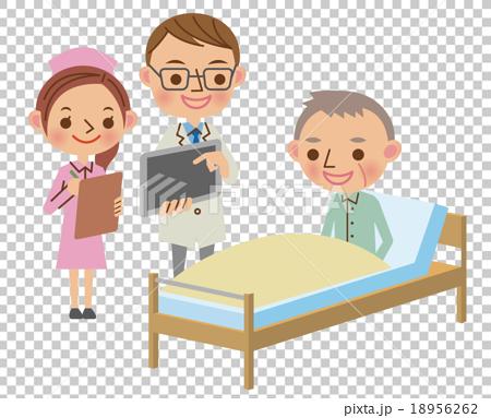 タブレット端末を使って患者へ説明する回診中の医師 18956262