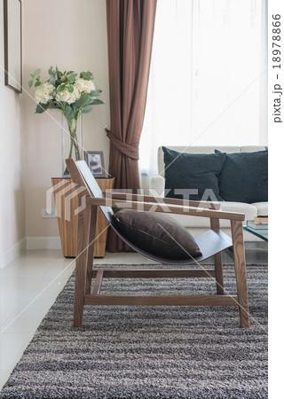modern wooden chair in living roomの写真素材 [18978866] - PIXTA