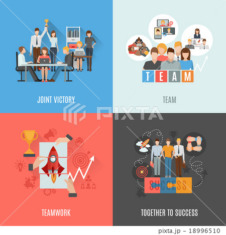 Teamwork 4 flat icons square composition 18996510