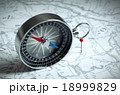 Compass On The Map And Red Pin 18999829