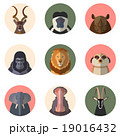 African animal round flat icons 19016432