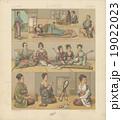 アンティークイラスト「江戸時代の日本人の衣装」(19世紀フランスの石版画) 19022023