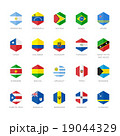 South America and Caribbean Flag Icons. Hexagon 19044329