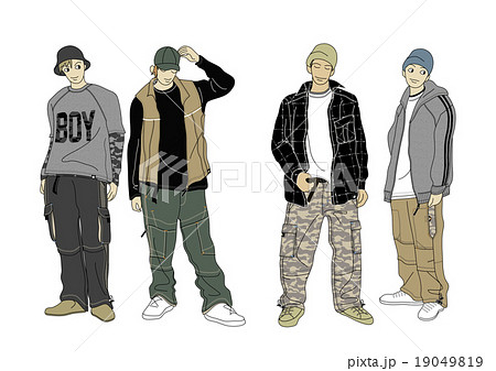男の子のストリート系ファッションのスタイル画