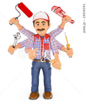 3D Handyman multitasking with six arms 19056391