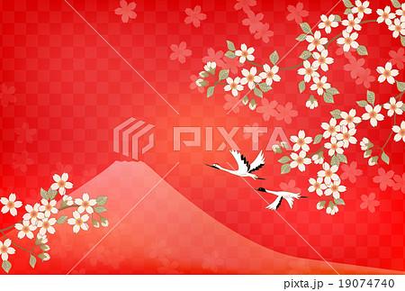 富士山と桜と鶴 19074740