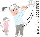 シニア ゴルフ 夫婦のイラスト 19086599