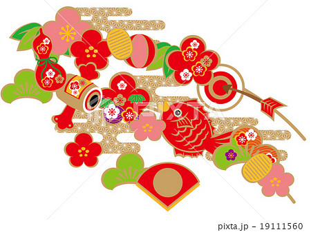 鯛 正月飾りのイラスト素材 19111560 Pixta