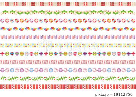素材 かわいいお正月ライン2テクスチャのイラスト素材 19112750