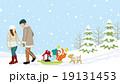 子供をソリで運ぶ家族 冬の風景 19131453