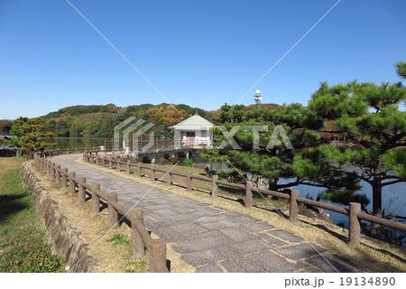 山田池、松ノ木、浮き御堂、の風景。大阪府枚方市№1 19134890