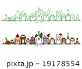 ペット 一列 コピースペース セット クリスマス 19178554