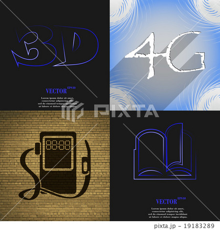 Set of abstract backgrounds with different web icoのイラスト素材 [19183289] - PIXTA