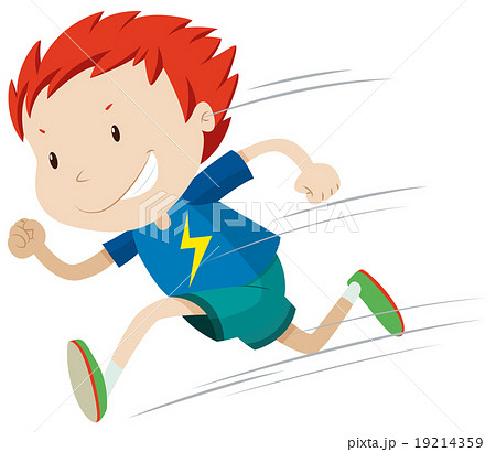 Boy running very fastのイラスト素材 [19214359] - PIXTA