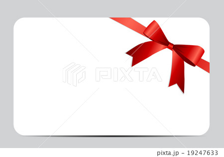 Gift Card with Red Ribbon and Bow. Vector 19247633