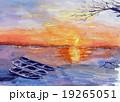夕陽の渡良瀬川のスケッチ画 19265051