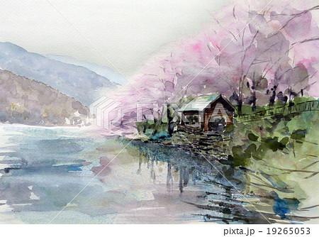 庄川の桜 スケッチ画 19265053