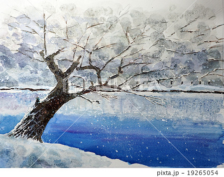 弘前公園の冬景色 水彩画 19265054