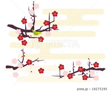 梅と鶯が春霞 19275295
