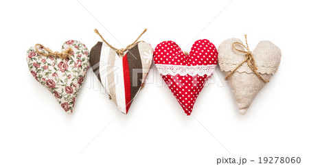 Four valentine hearts on the white backgroundの写真素材 [19278060] - PIXTA