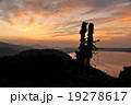放射状の朝焼け雲 黄 19278617