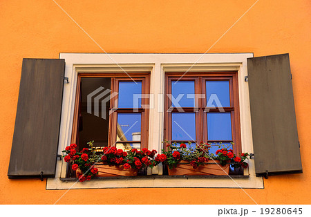 バラの花があるドイツローテンブルクの民家の窓 19280645