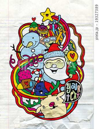 Hand drawn Cute Christmas and New Year doodlesのイラスト素材 [19327389] - PIXTA