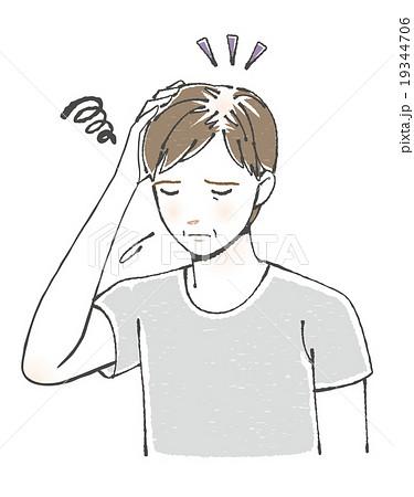 薄毛に悩む中年男性イラスト 19344706
