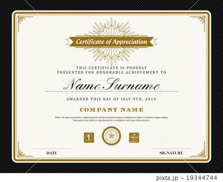 vintage retro art deco frame certificate templateのイラスト素材