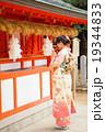 女性 初詣 着物の写真 19344833