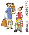 親子 買い物 ベビーカーのイラスト 19369770