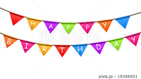 happy birthday party background with flags vectorのイラスト素材