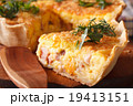 piece of French quiche Lorraine macro. horizontal 19413151