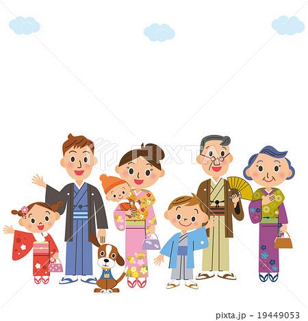 着物を来ている三世代家族 19449053