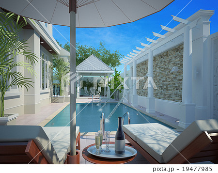 backyard with entertaining area and pool,3d
