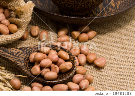 No shell dry peanut in wooden spoon and sack 19481588