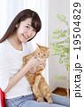 猫をかわいがる女性 19504829