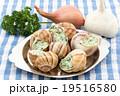 調理前のエスカルゴ: Uncooked escargot on escargot plate 19516580