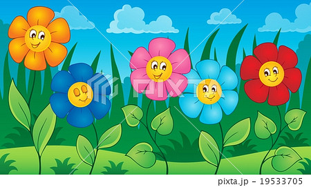 Flowers on meadow theme 5 19533705