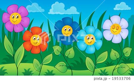 Flowers on meadow theme 6 19533706