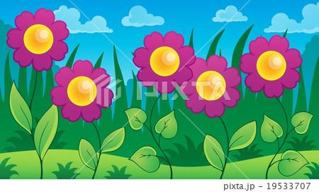 Flowers on meadow theme 7 19533707