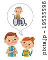 足の不自由な父親の介護について悩む若い夫婦 19535596