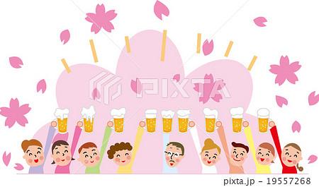 お花見 歓送迎会 乾杯 お祝い ビアガーデン ジョッキのイラスト