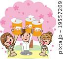 お花見 歓送迎会 乾杯 お祝い 缶ビール 19557269